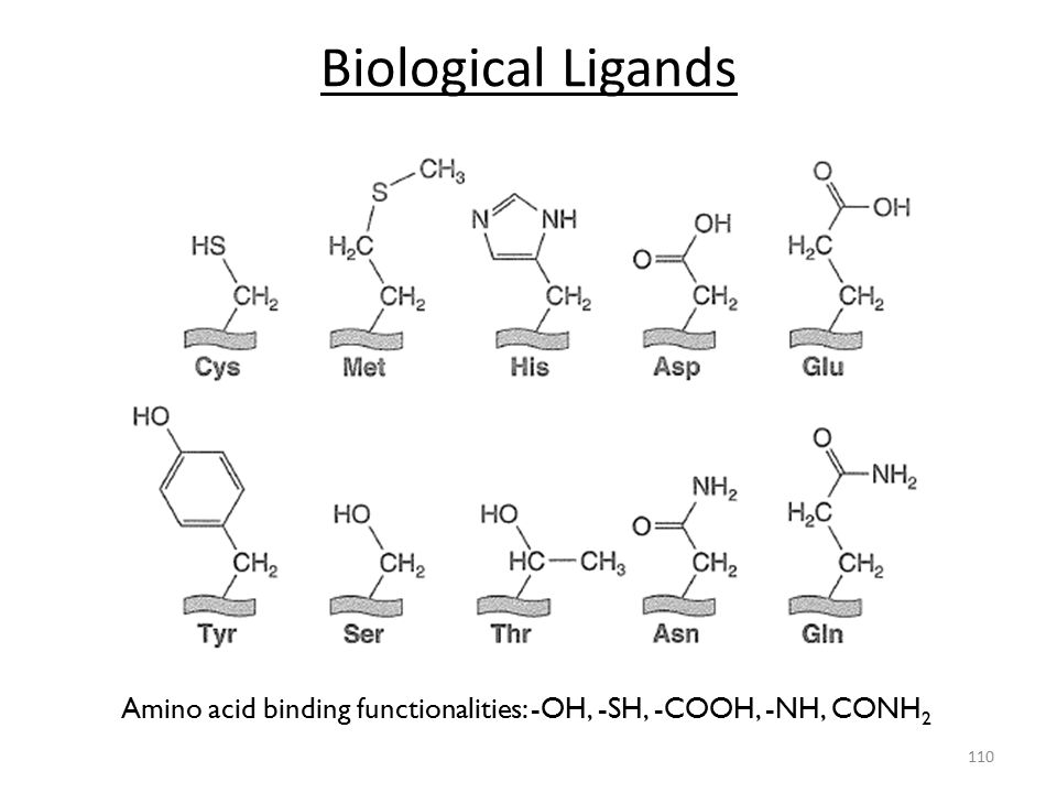 Amino acid binding functionalities: -OH, -SH, -COOH, -NH, CONH2