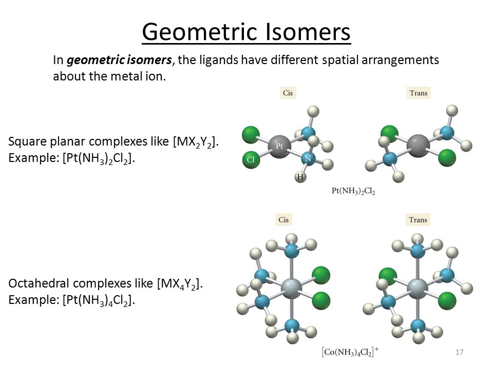 Geometric Isomers In geometric isomers, the ligands have different spatial arrangements about the metal ion.