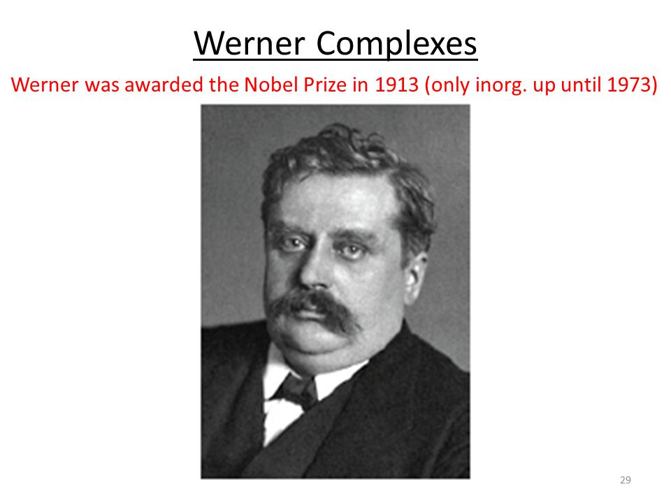 Werner was awarded the Nobel Prize in 1913 (only inorg. up until 1973)