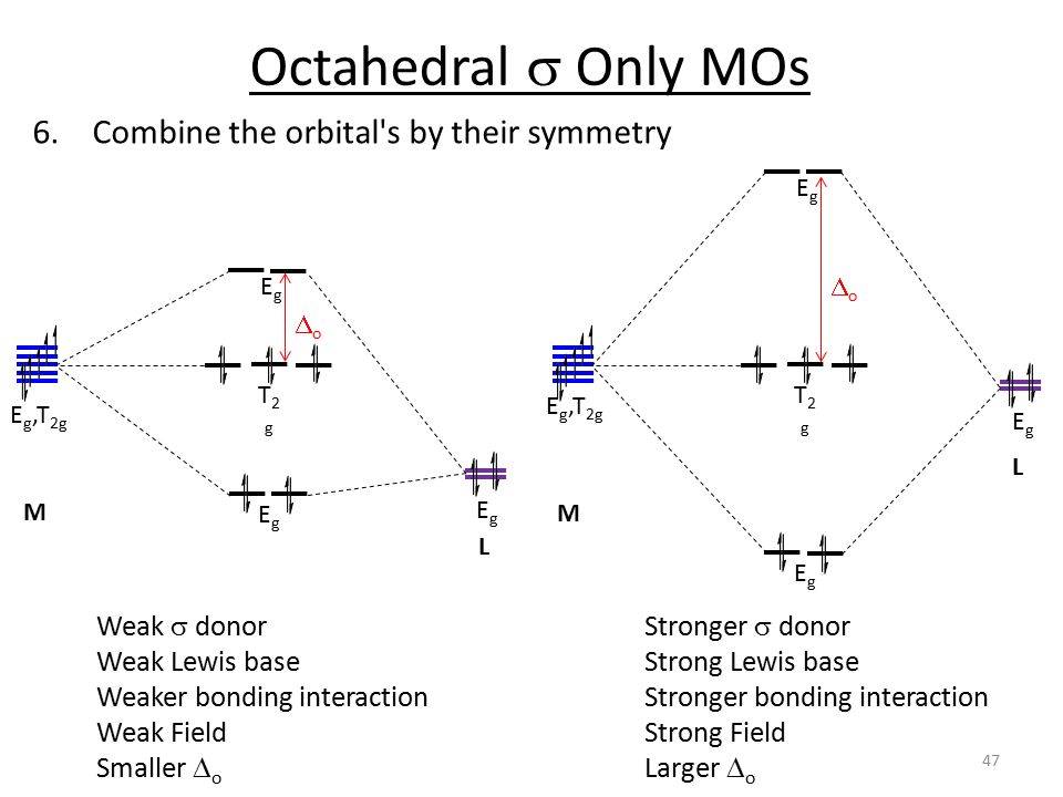 Octahedral s Only MOs Combine the orbital s by their symmetry