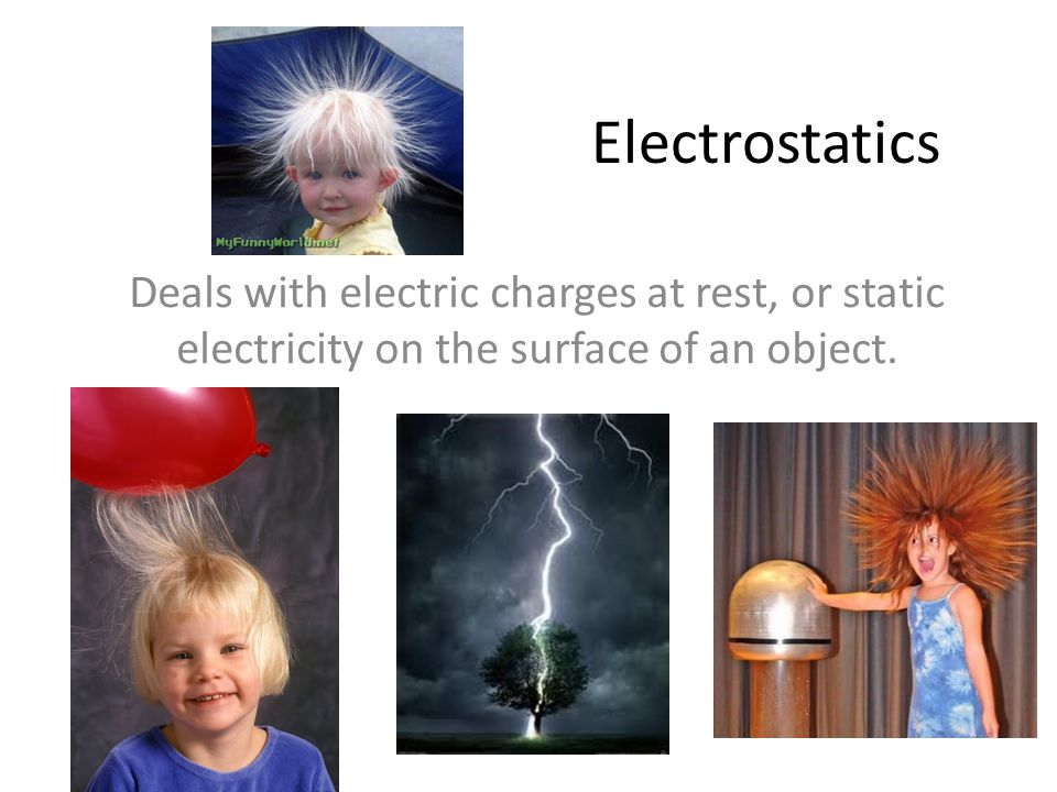 Electrostatics Deals with electric charges at rest, or static electricity on the surface of an object.