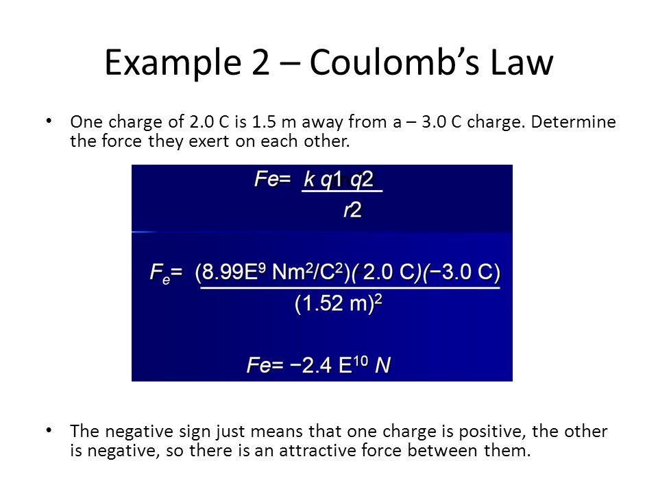 Example 2 – Coulomb's Law