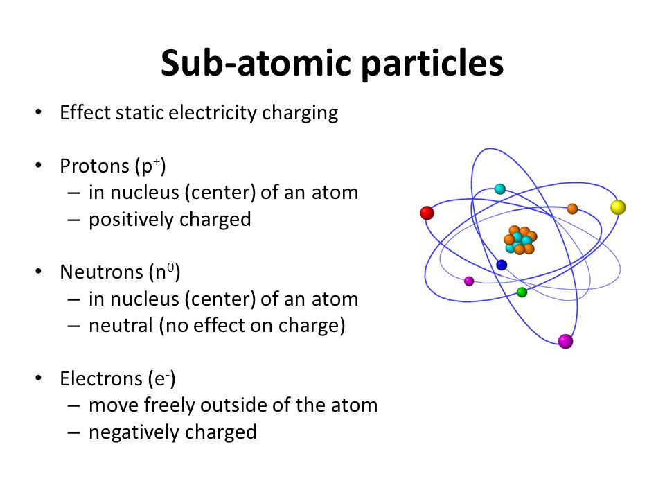 Sub-atomic particles Effect static electricity charging Protons (p+)