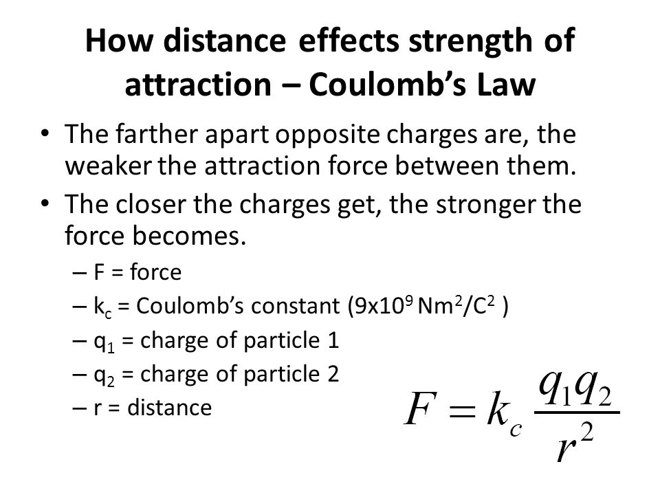 How distance effects strength of attraction – Coulomb's Law