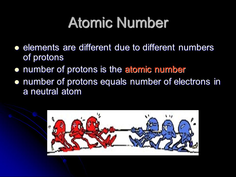 Atomic Number elements are different due to different numbers of protons. number of protons is the atomic number.