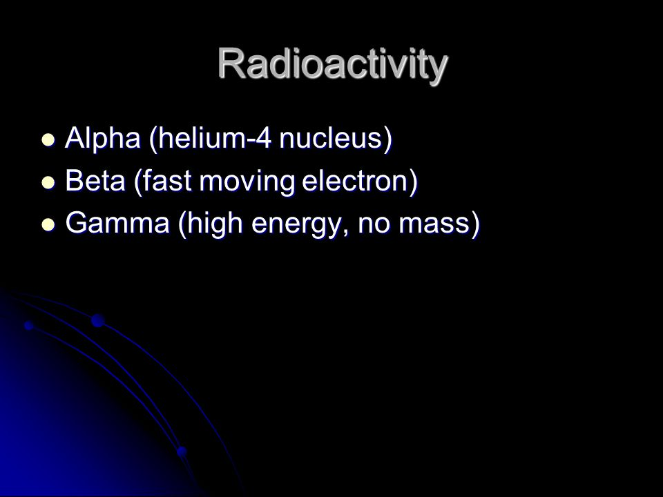 Radioactivity Alpha (helium-4 nucleus) Beta (fast moving electron)