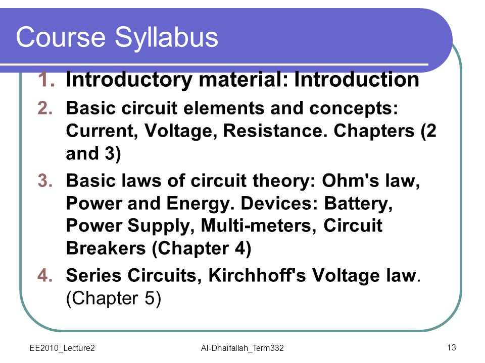 Course Syllabus Introductory material: Introduction