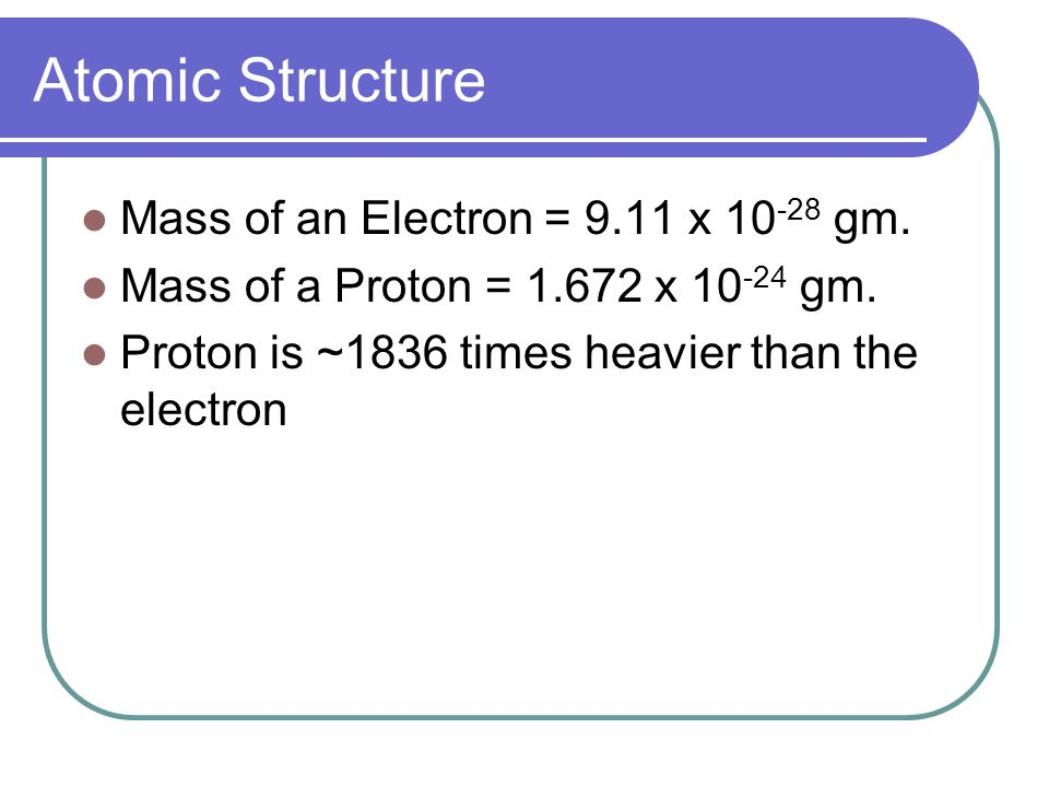 Atomic Structure Mass of an Electron = 9.11 x 10-28 gm.
