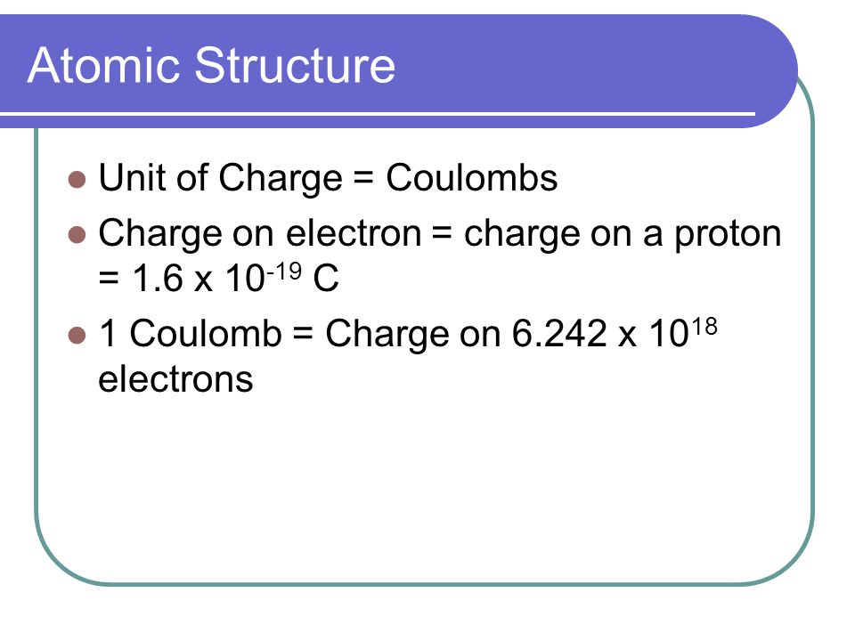Atomic Structure Unit of Charge = Coulombs