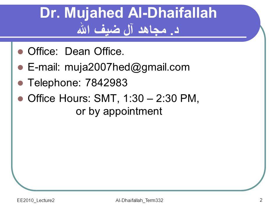 Dr. Mujahed Al-Dhaifallah د. مجاهد آل ضيف الله