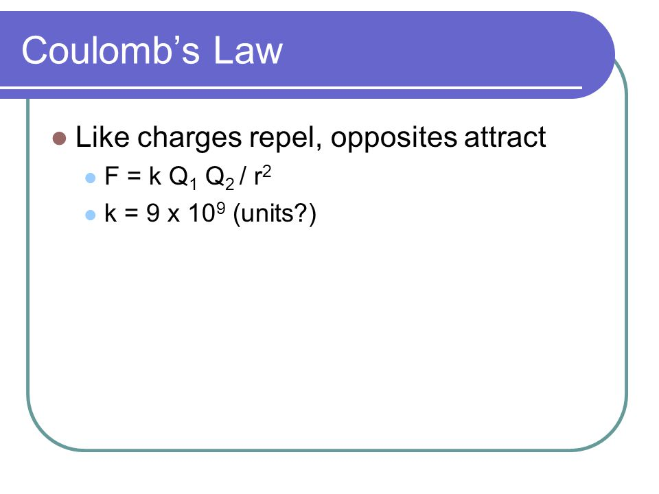 Coulomb's Law Like charges repel, opposites attract F = k Q1 Q2 / r2