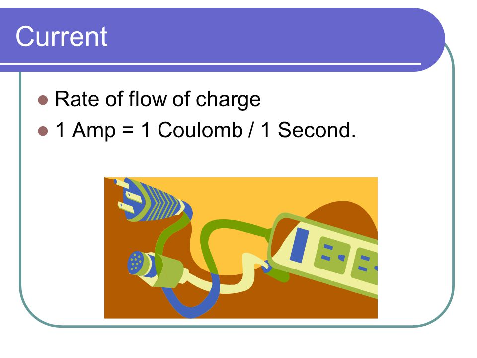 Current Rate of flow of charge 1 Amp = 1 Coulomb / 1 Second.
