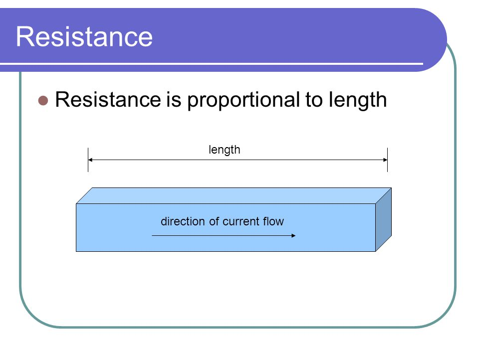Resistance Resistance is proportional to length length
