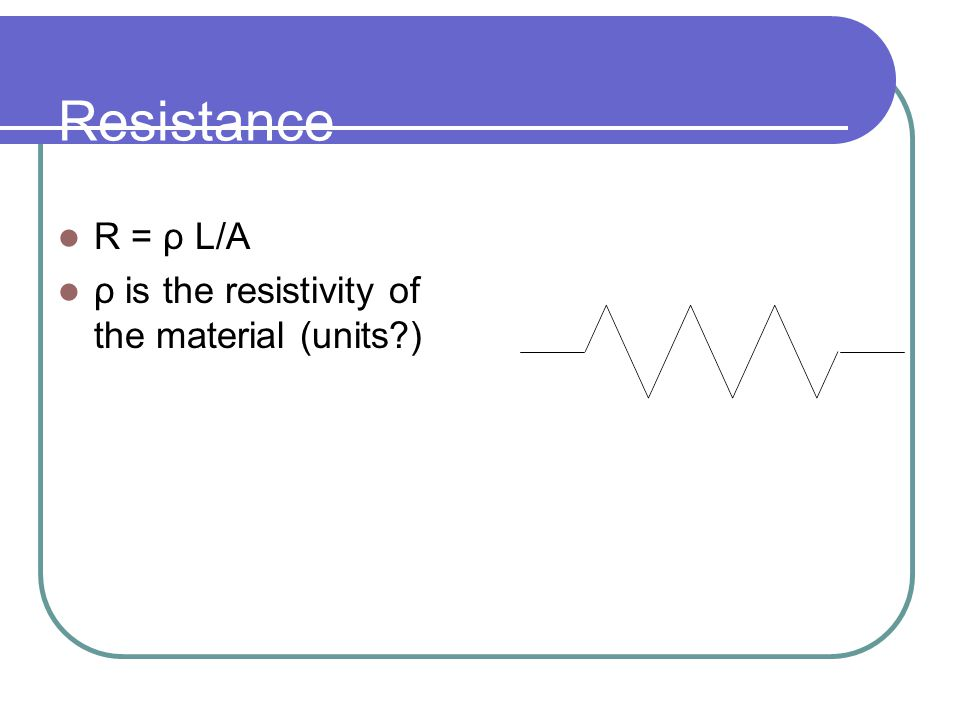 Resistance R = ρ L/A ρ is the resistivity of the material (units )