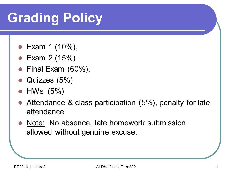 Grading Policy Exam 1 (10%), Exam 2 (15%) Final Exam (60%),