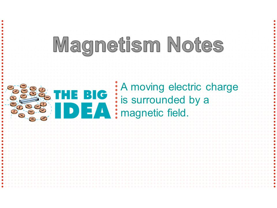 Magnetism Notes A moving electric charge is surrounded by a magnetic field.