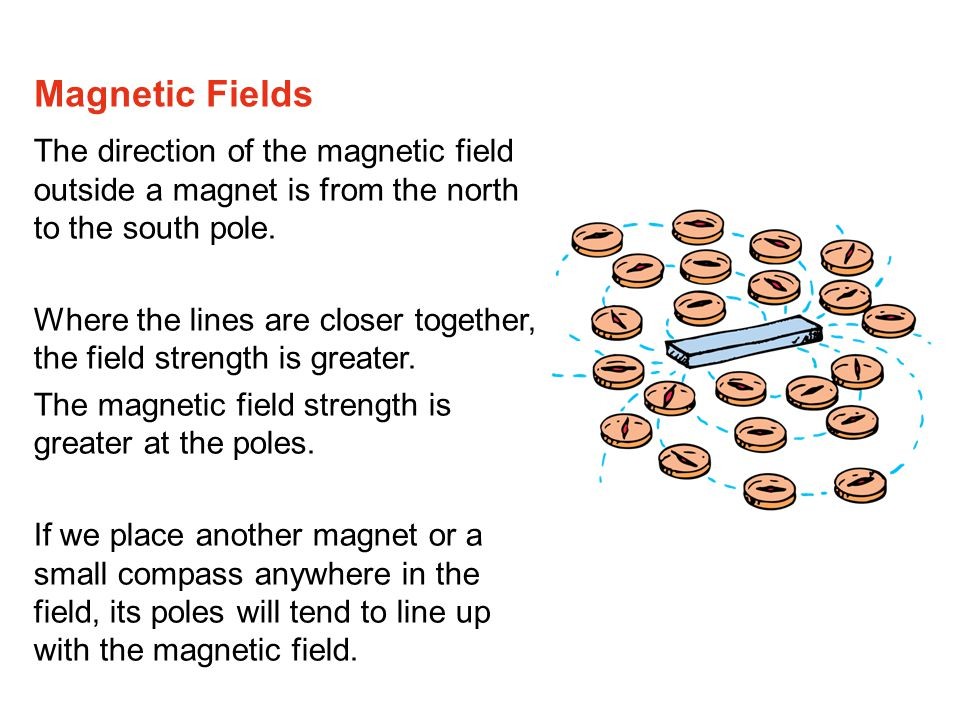 Magnetic Fields The direction of the magnetic field outside a magnet is from the north to the south pole.