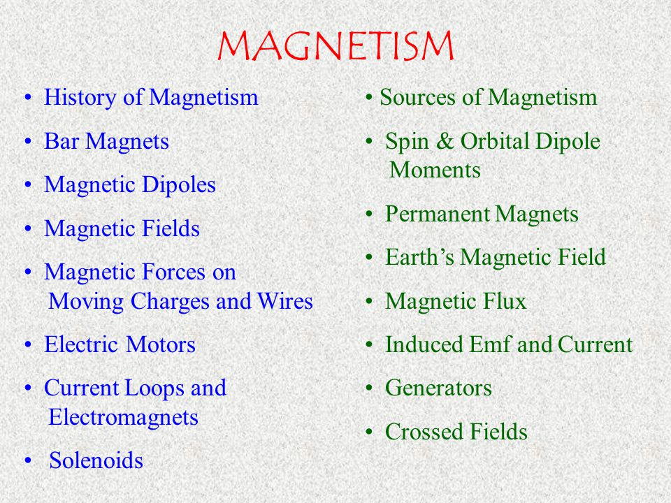 MAGNETISM History of Magnetism Bar Magnets Magnetic Dipoles