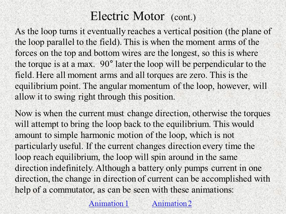 Electric Motor (cont.)