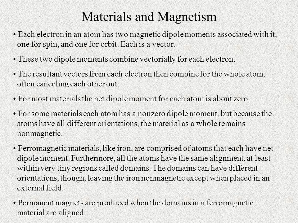 Materials and Magnetism