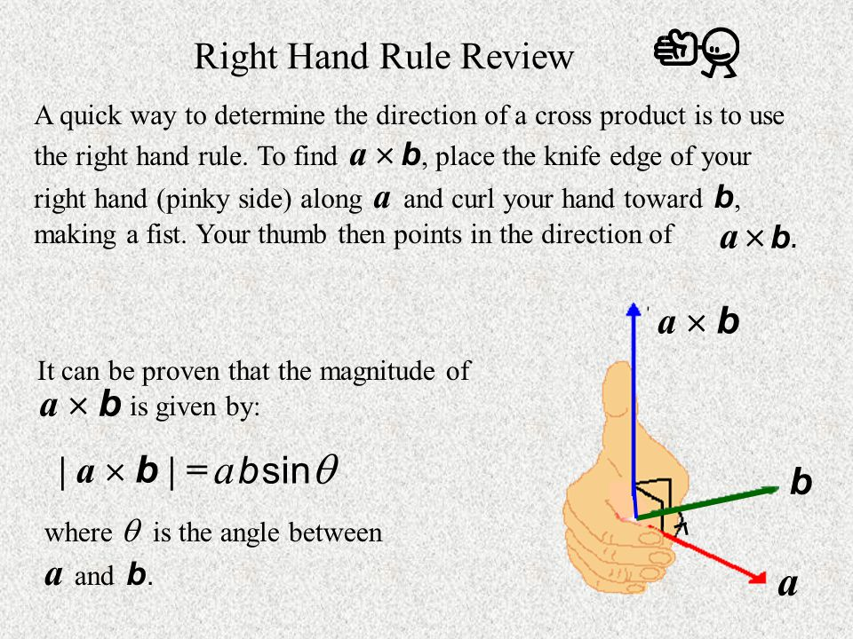 a b sin a Right Hand Rule Review a  b. a  b a  b | a  b | = b 