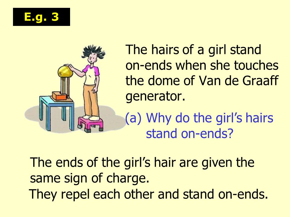 (a) Why do the girl's hairs stand on-ends
