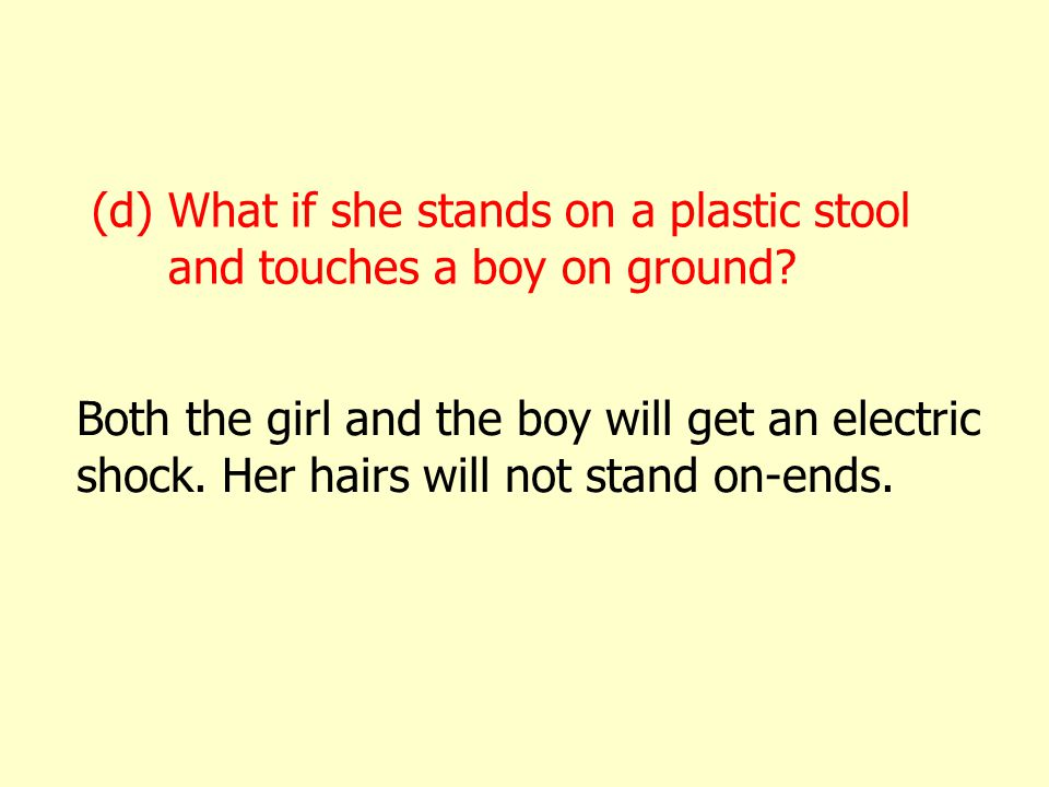 (d) What if she stands on a plastic stool and touches a boy on ground