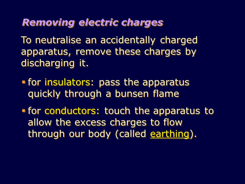 Removing electric charges