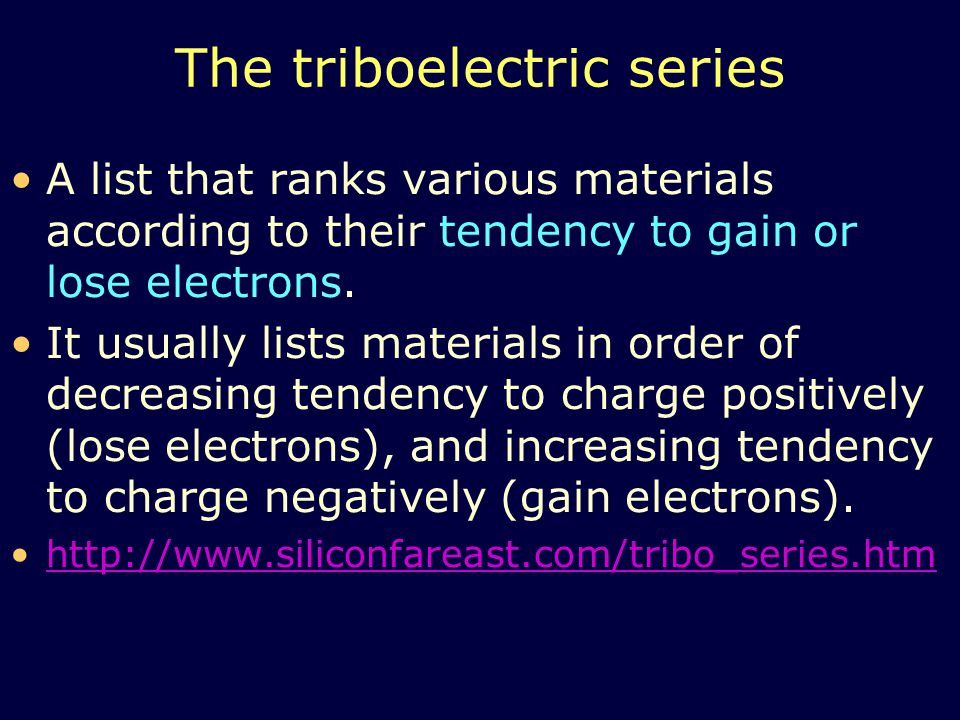The triboelectric series
