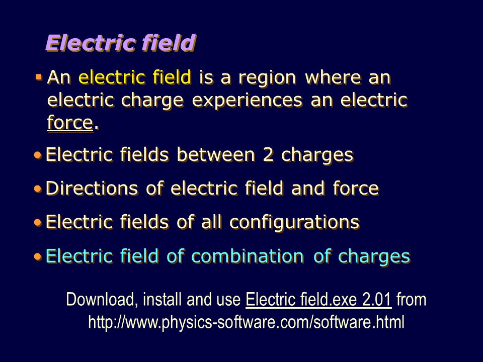 Download, install and use Electric field.exe 2.01 from