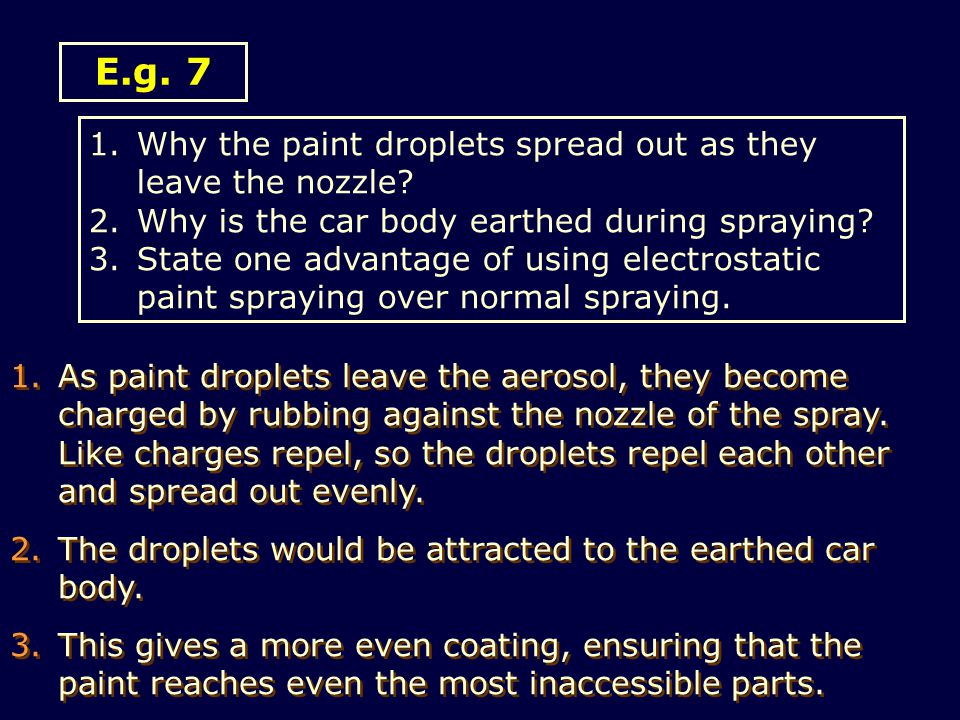 E.g. 7 Why the paint droplets spread out as they leave the nozzle