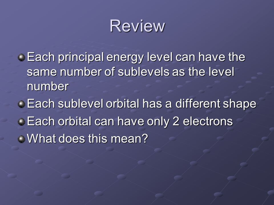 Review Each principal energy level can have the same number of sublevels as the level number. Each sublevel orbital has a different shape.