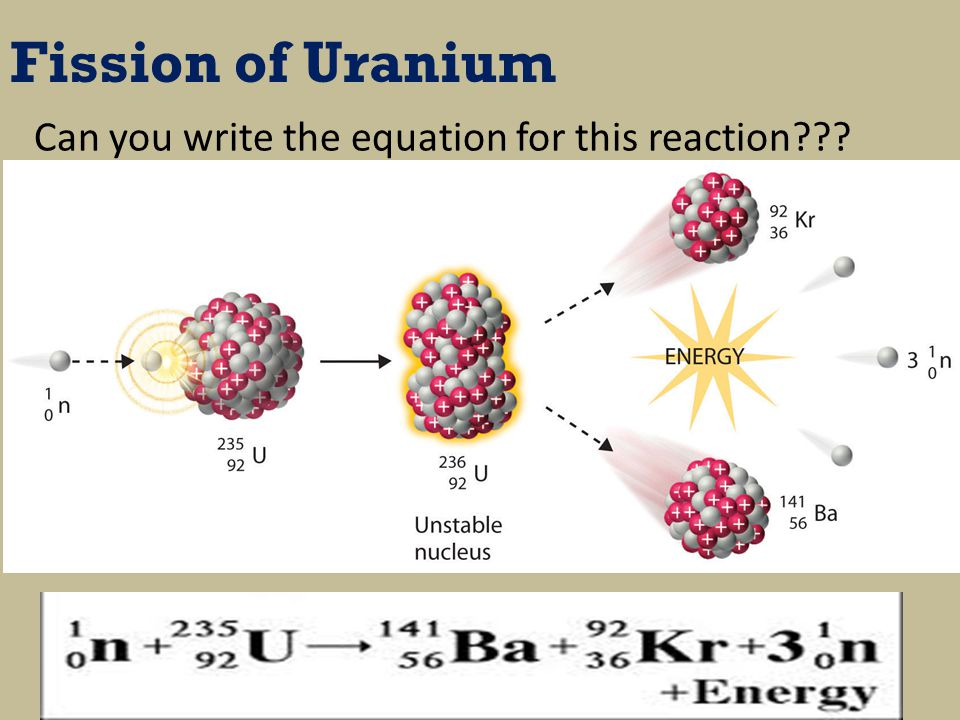 Fission of Uranium Can you write the equation for this reaction
