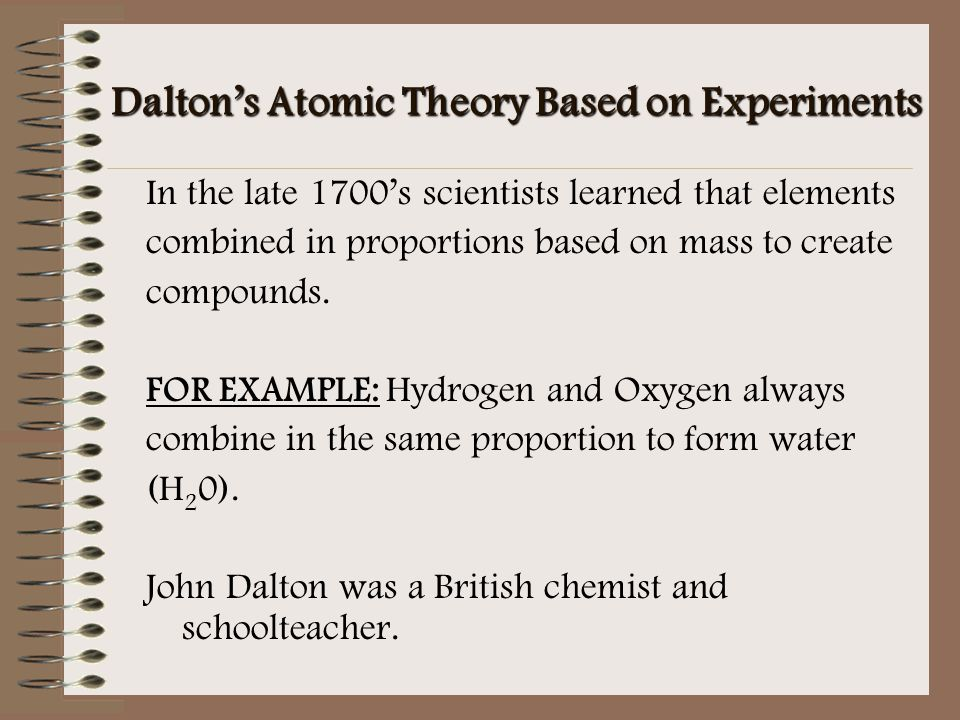 Dalton's Atomic Theory Based on Experiments