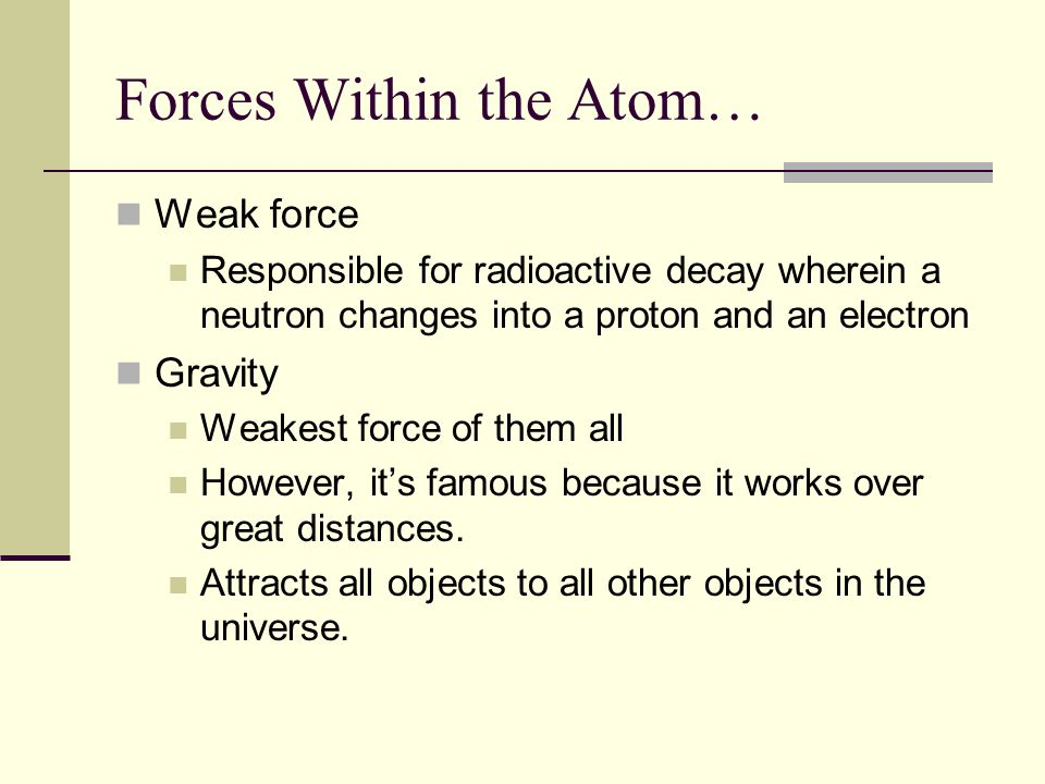 Forces Within the Atom…