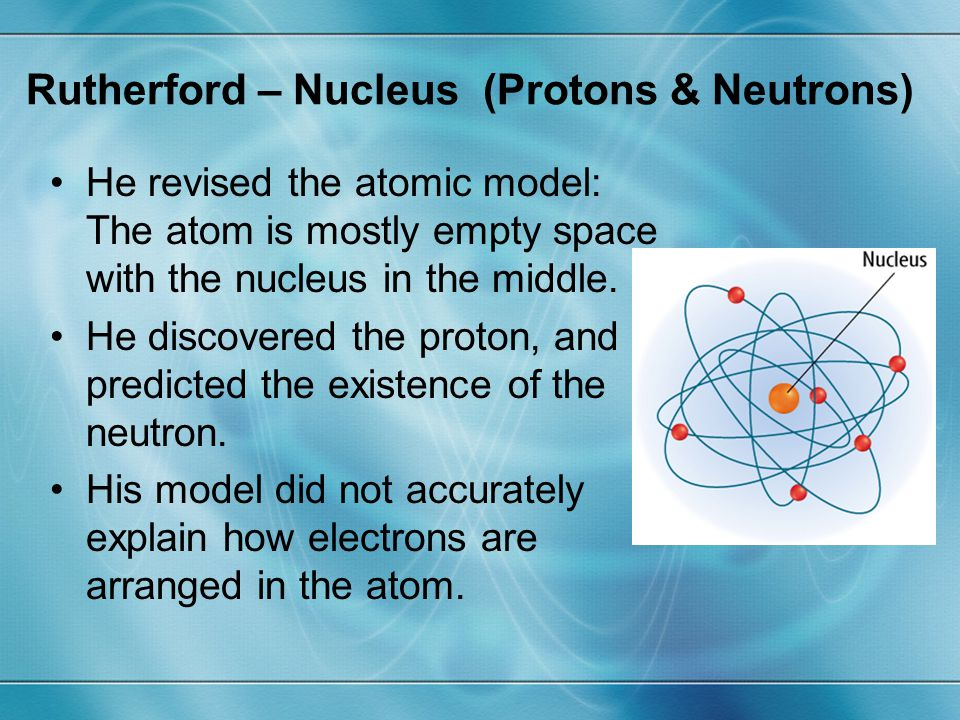 Rutherford – Nucleus (Protons & Neutrons)