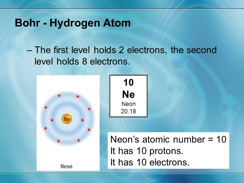 Bohr - Hydrogen Atom The first level holds 2 electrons, the second level holds 8 electrons. 10. Ne.