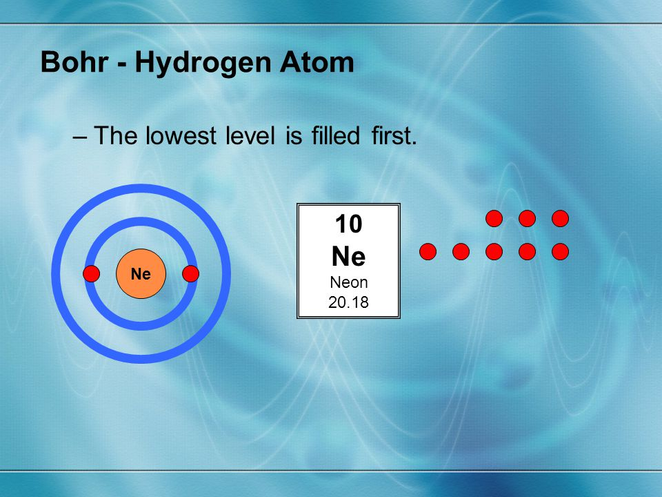 Bohr - Hydrogen Atom Ne The lowest level is filled first. 10 Neon