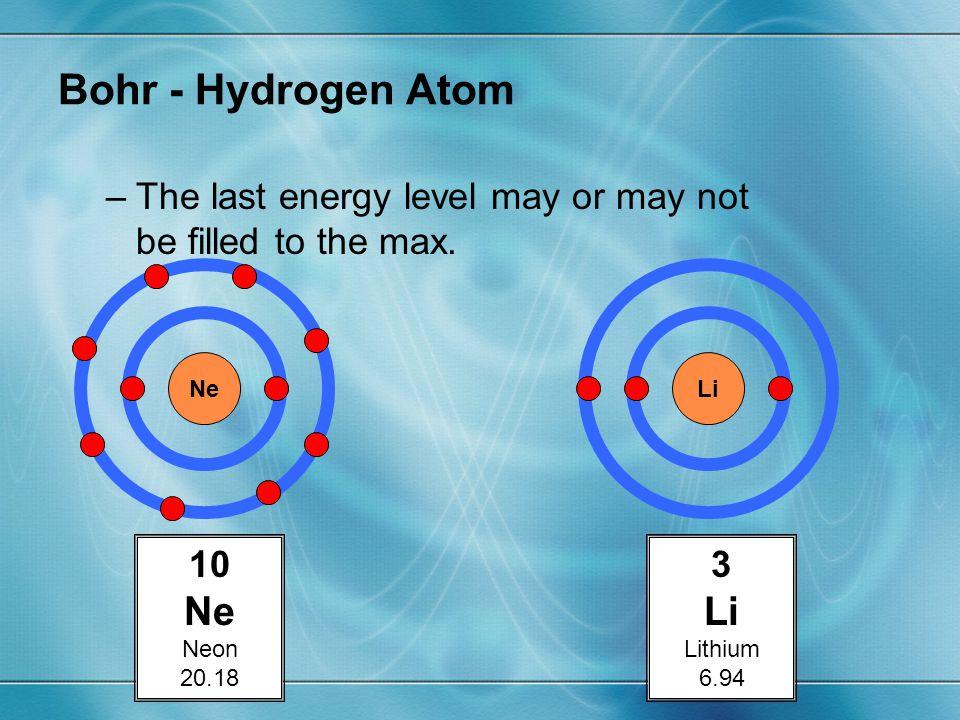 Bohr - Hydrogen Atom Ne Li