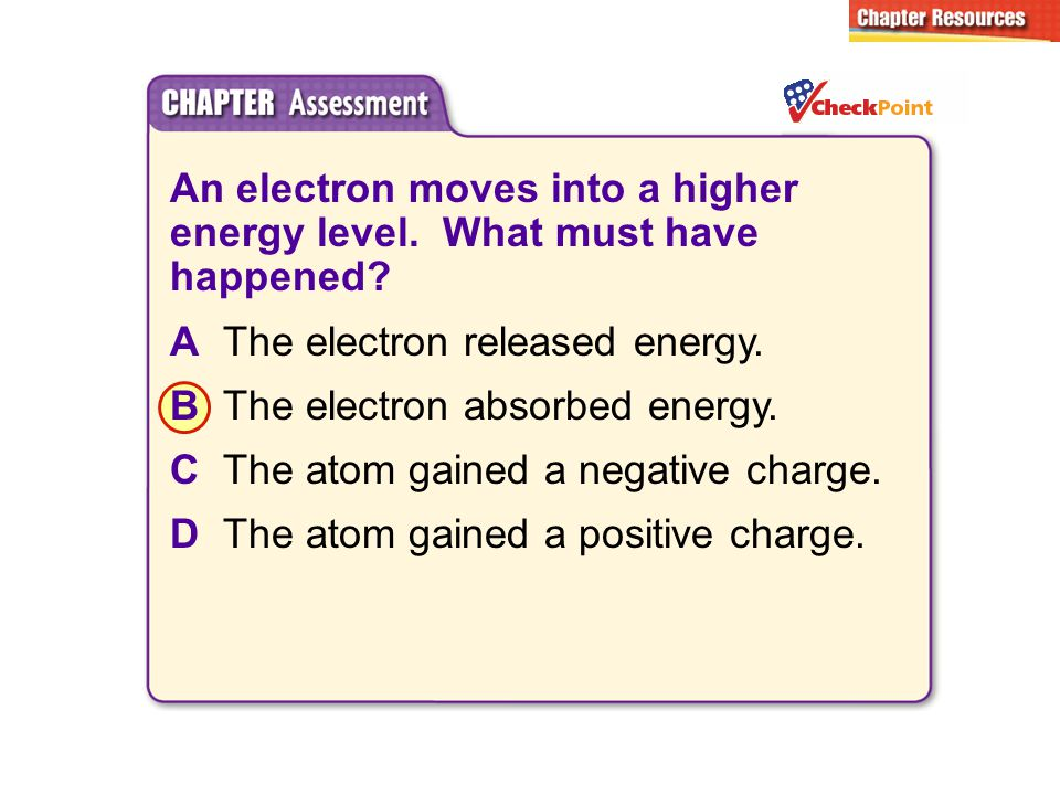 An electron moves into a higher energy level. What must have happened