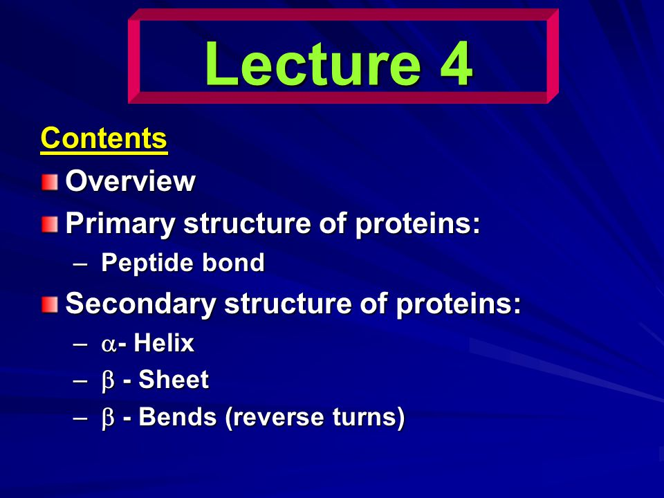 Lecture 4 Contents Overview Primary structure of proteins: