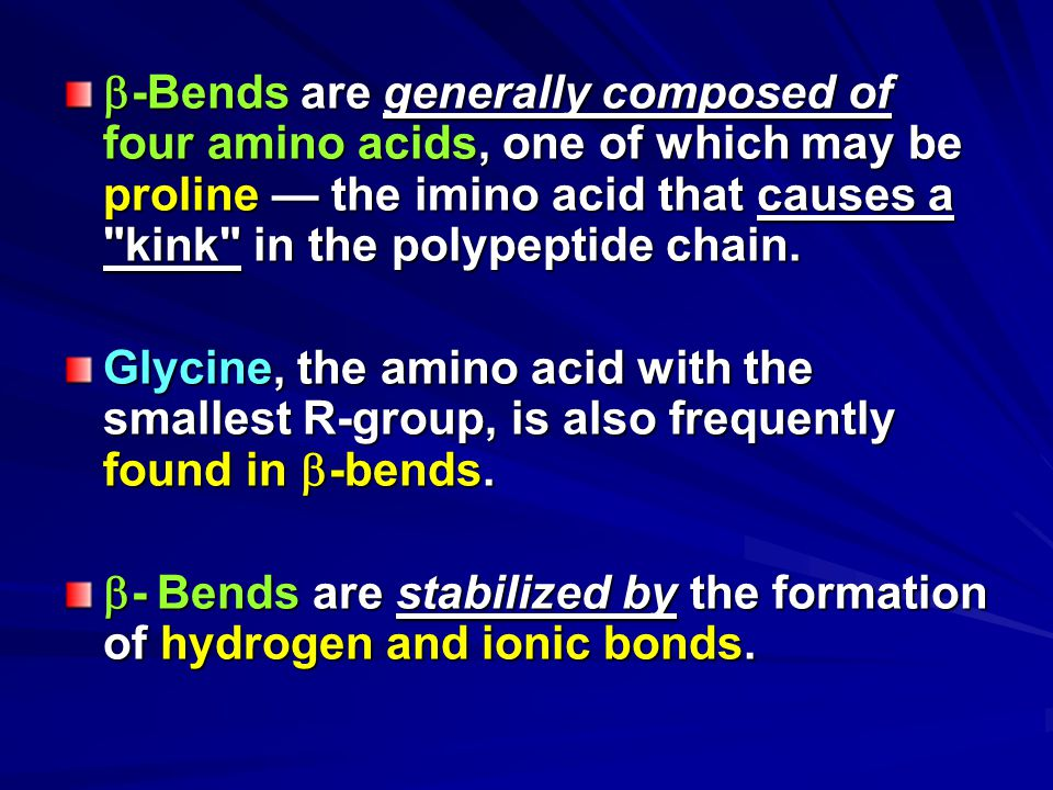 -Bends are generally composed of four amino acids, one of which may be proline — the imino acid that causes a kink in the polypeptide chain.