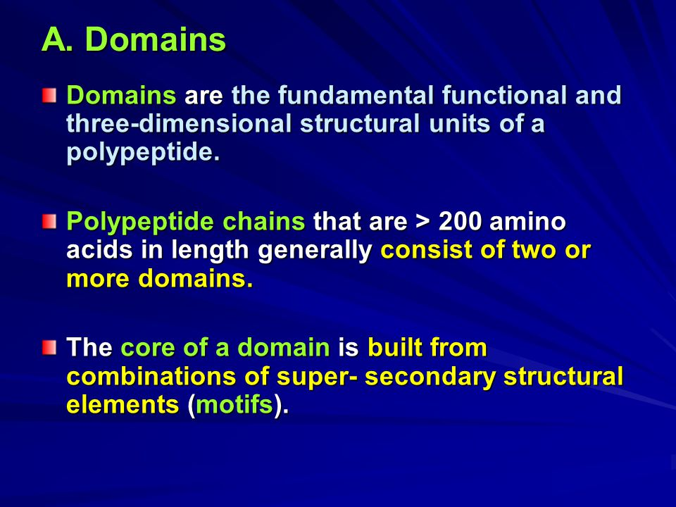 A. Domains Domains are the fundamental functional and three-dimensional structural units of a polypeptide.
