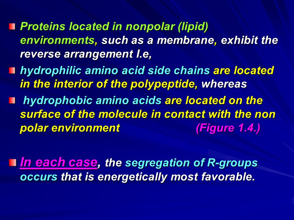 Proteins located in nonpolar (lipid) environments, such as a membrane, exhibit the reverse arrangement I.e,