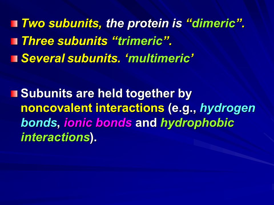 Two subunits, the protein is dimeric .
