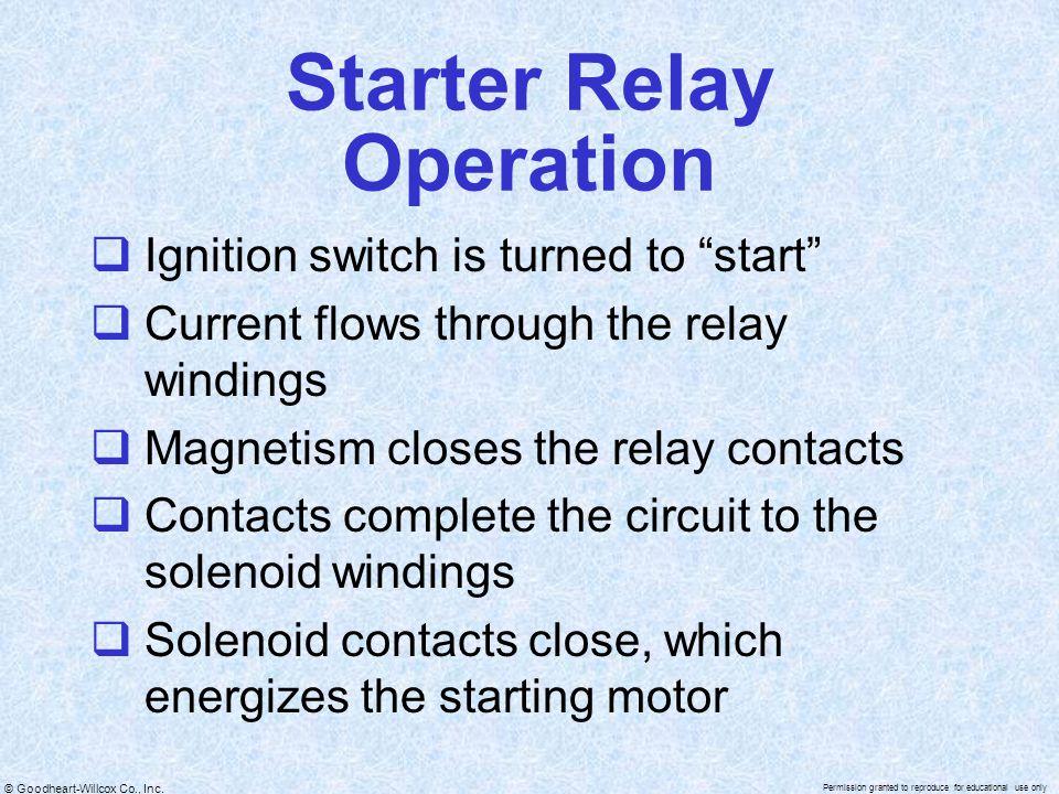 Starter Relay Operation