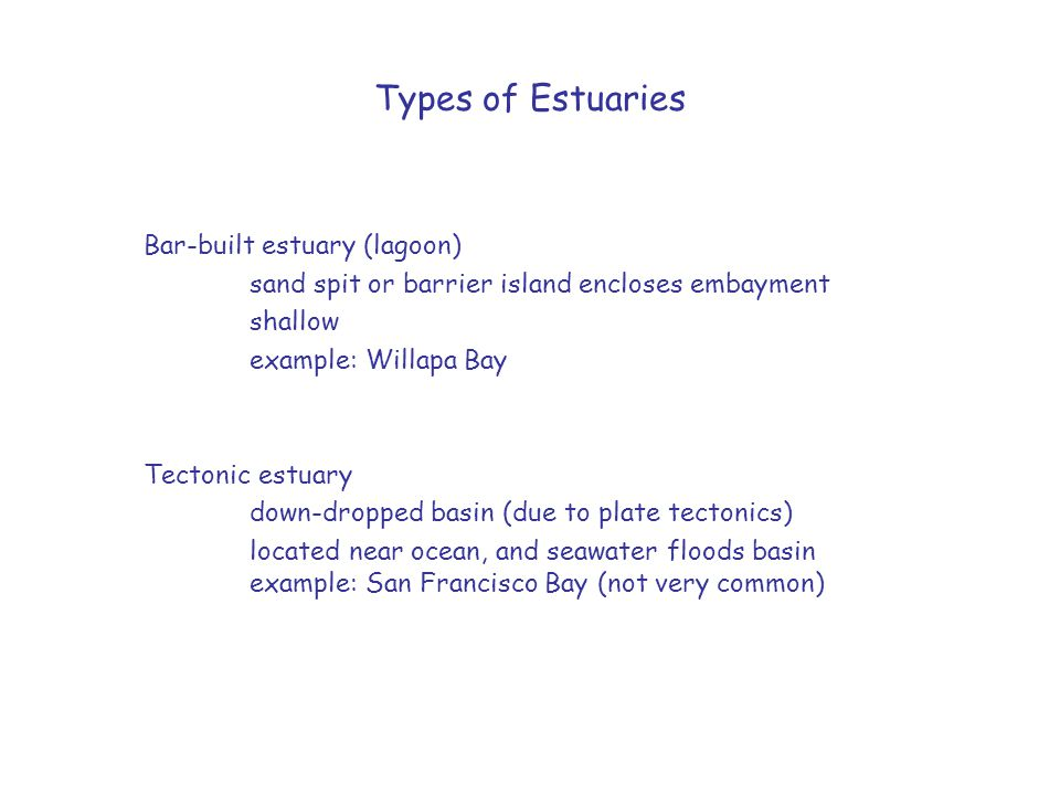 Types of Estuaries Bar-built estuary (lagoon)