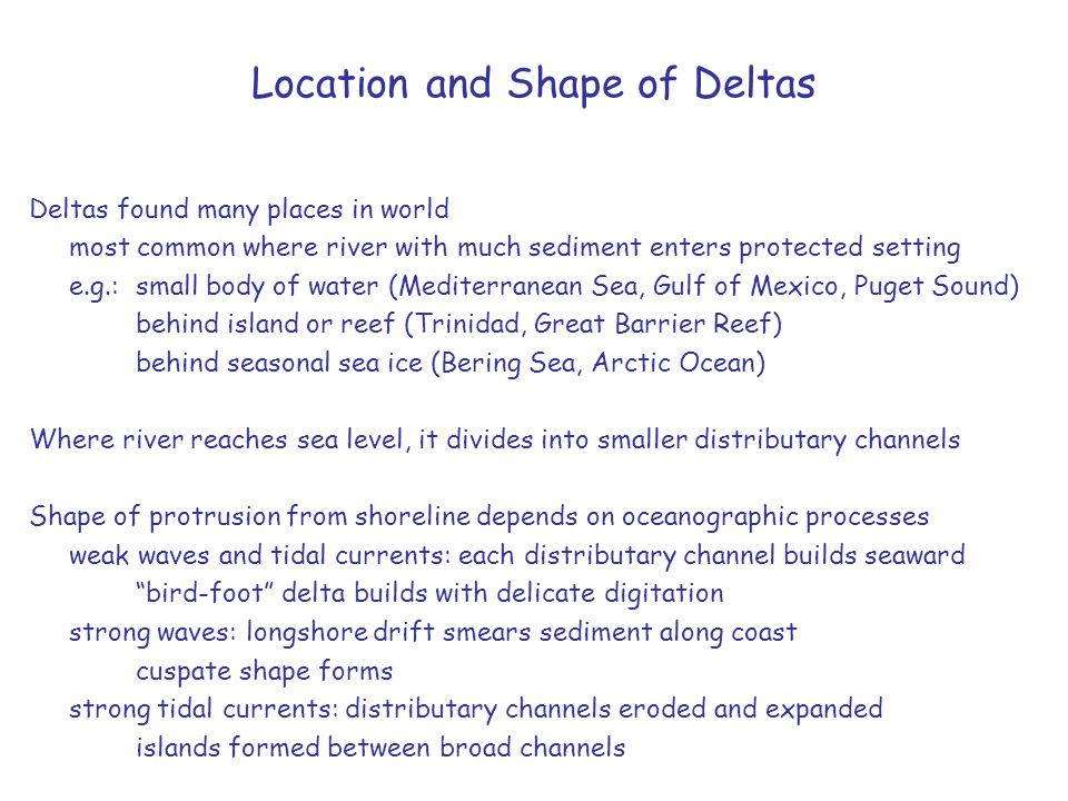 Location and Shape of Deltas
