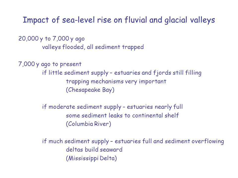 Impact of sea-level rise on fluvial and glacial valleys