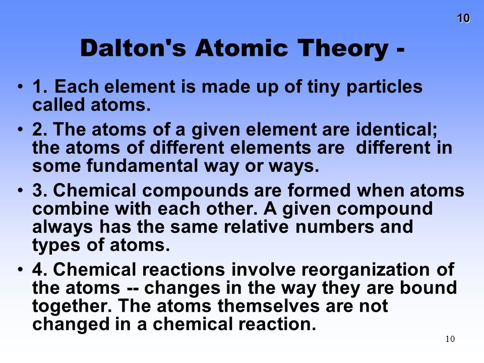 Dalton s Atomic Theory -